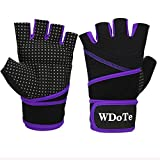 Womens Mens Weight Lifting Workout Gloves With 17.7' Wrist Support, Anti-Slip Wearable Gym Gloves with Full Palm Padded Gel Grip for Workout Training, Crossfit, Fitness 3 Colors XS-L (1 Pair)