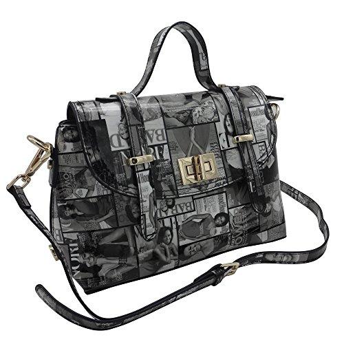 Michelle Obama Magazine Style Double Strap Crossbody Bag (Black) - Style Double Magazine