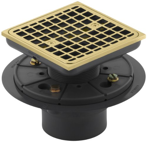 - KOHLER K-9136-PB Square Design Tile-In Shower Drain, Vibrant Polished Brass