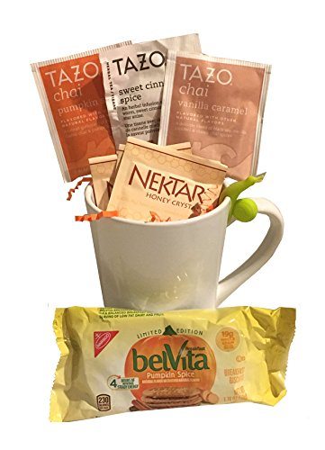 Hot Tea Gift - Cup, Tazo Teas, Honey Crystals, Belvita Pumpkin Spice Cookies, Tea Bag Holder (Pumpkin Spice - All Things Nice!)