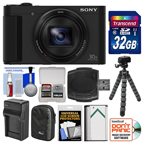 Sony Cyber-Shot DSC-HX80 Wi-Fi Digital Camera with 32GB Card + Case + Battery & Charger + Flex Tripod + Kit by Sony