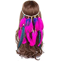 AWAYTR Rose Red Native American Indian Hippie Women Feather Headband Bohemia Hair Accessory