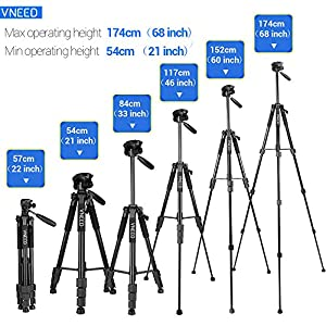 Camera Tripod Phone Tripod 68 Inch Aluminium Lightweight Travel Portable for DSLR SLR DV Cellphone with Carrying Bag