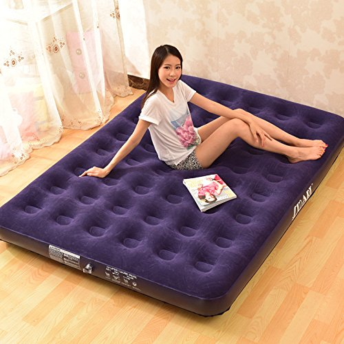 Deluxe Inflatable Bed Outdoor Soft Flocked Top For Comfort Airbed Twin Queen Kin ( King Size )