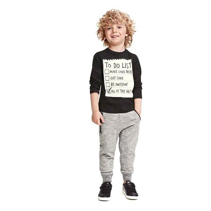 Covermason Niños Hermoso Negro Blusa y Gris Casual Pantalones (1 conjunto) (6 años