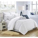 master bedroom bedding  9 Piece Brenton Super Rich Microfiber Stitch Embroidered Comforter, King, White