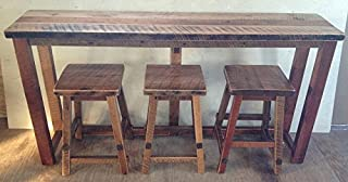 """product image for Rustic Natural Reclaimed Barn Wood Kitchen Bar Set with 3 Bar Stools - Counter Height (36"""") Urban Distress Stain Amish Made in USA"""