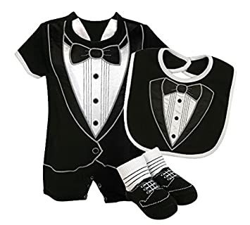 e87490639515 Amazon.com   Stephan Baby Tiny Tux Short Romper