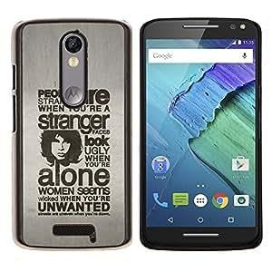 """Be-Star Único Patrón Plástico Duro Fundas Cover Cubre Hard Case Cover Para Motorola Droid Turbo 2 / Moto X Force ( Tipografía - People Are Strange"""" )"""