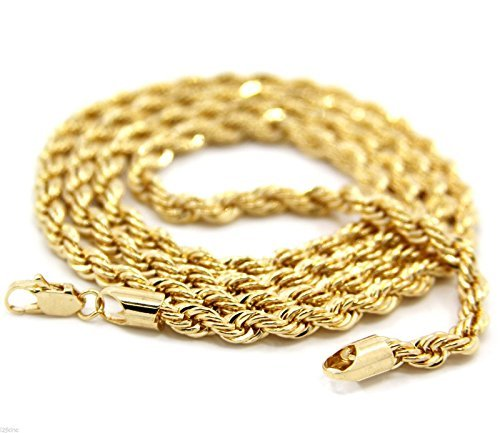 Mens 14K Yellow Gold Plated 4mm Rope Chain