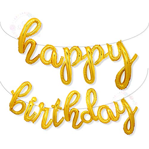Happy Birthday With Balloons (Happy Birthday Balloons Banner | Script/Cursive Gold Letter Balloon Sign for Birthday Party Decor/Decoration | Foil Mylar Happy Birthday Banner)