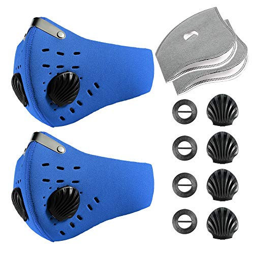 Activated Carbon Dustproof/Dust Mask - Filter Cotton Sheet and Valves for Exhaust Gas, Pollen Allergy, PM2.5, Running, Cycling, Outdoor Activities (Blue-New 2Pack)