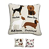Hahadidi Dog Pattern Embroidered Throw Pillow Cover Cute Decorative Throw Pillow Case Polyester Linen Cushion Cover,Suitable for Home and Office,Great Gift for Kids,Friends,Pet Lover,18''x18''