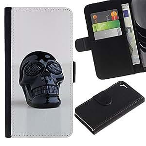 Estuche de Cuero Billetera del tirón Tarjeta de la Bolsa Titular de Suave Caso para Apple Iphone 5 / 5S / CECELL Phone case / / 3D Printed Plastic Skull Death Black /