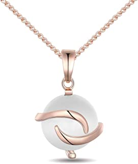 Tasnunisa Rose Gold Plated Cat Eye Stone Pendant Necklace, 18'