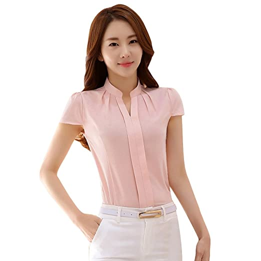 1afbbed9490f Soly Tech Women Short Sleeve Stand Collar Slim Fit Work Tops Blouse Shirts  at Amazon Women's Clothing store:
