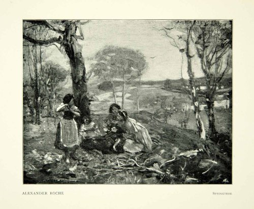 1897-print-alexander-roche-springtime-scotland-picnic-landscape-forest-art-tree-original-halftone-pr