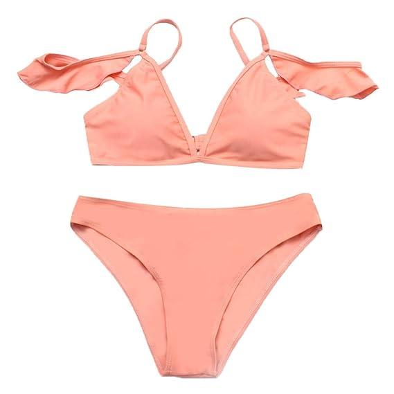 362446f8a67 Mujer Conjunto De Bikini con Detalle De Volante con Tirante Ajustable de baño  Bikini,+