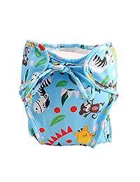 Size Medium, Adjustable Infant Swim Diaper, [Animal Friends, Blue]
