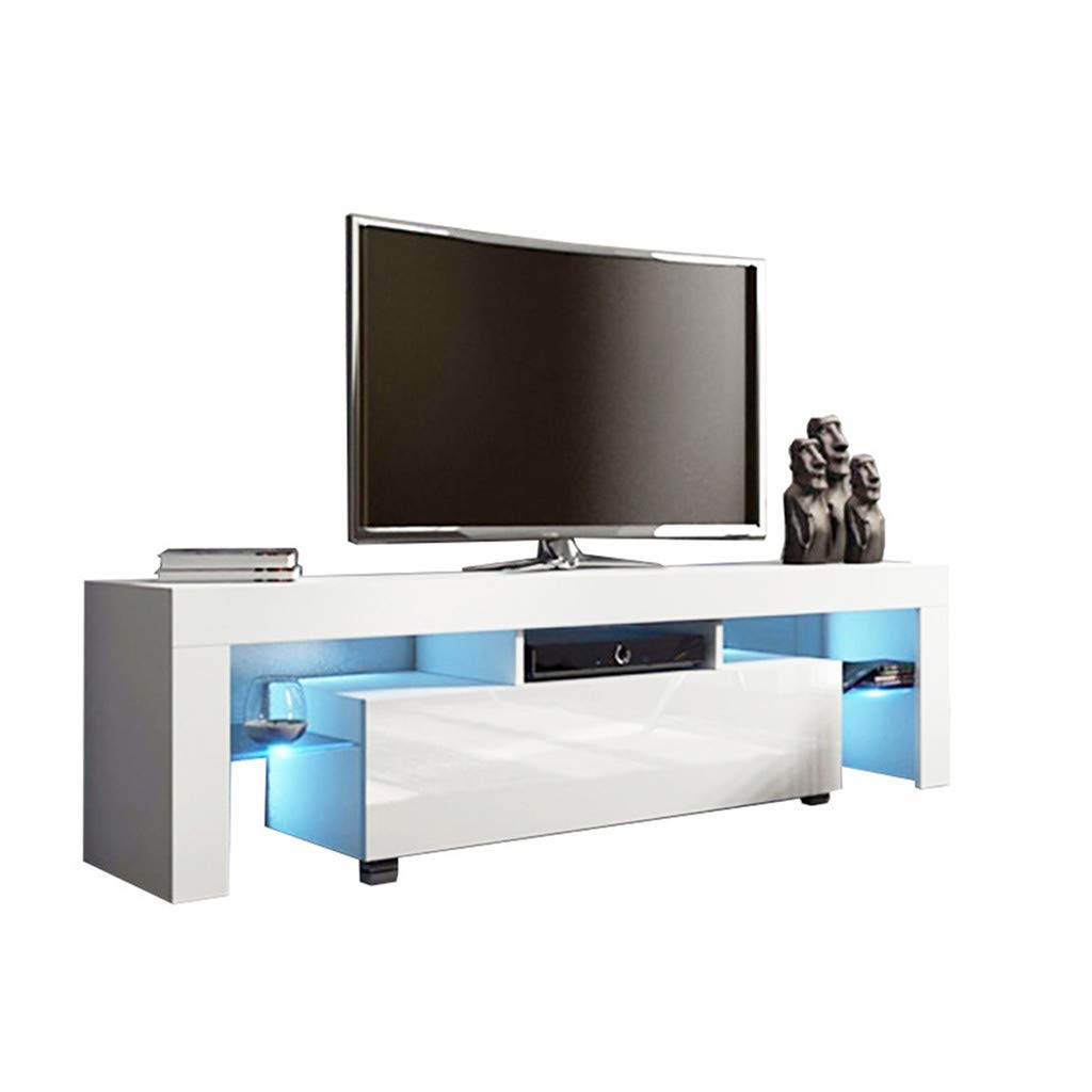 C-Easy Modern TV Stand with LED Lights, Luxury High-Gloss TV Cabinet, TV Table Entertainment Center, Wood TV Desk, TV Console Media Storage, Television Stand for Living Room, Bedroom, White by C-Easy