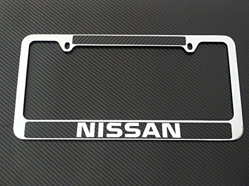 Nissan license plate frame chrome metal, carbon fiber details,chrome text (Plate Frame License Nissan)