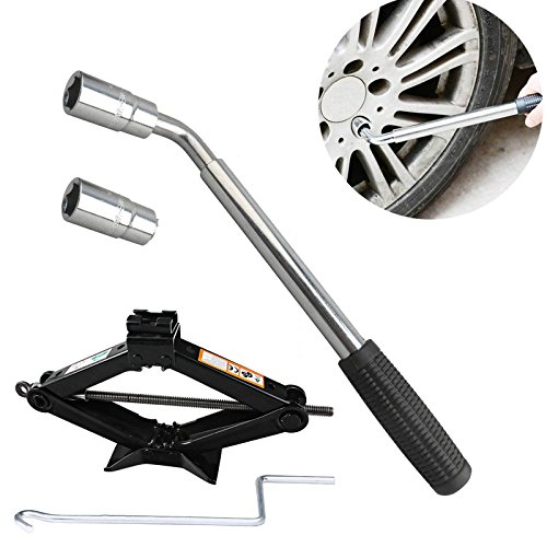 - DICN Telescoping Lug Wrench Wheel Brace + 2 Standard Socket (17mm/19mm) (21mm/23mm) + Scissor Jack 2 Tonne Black Steel with Crank Handle Universal Fit