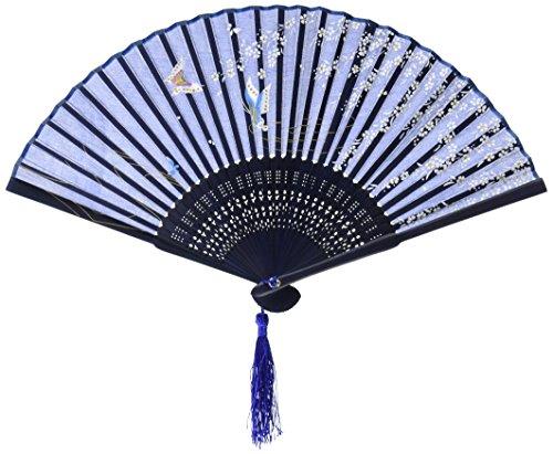 Asian Themed Costumes (OliaDesign Japanese Handheld Blue Butterfly Folding Fan Silk Handheld Folding Fan .,Dark Blue,One Size)