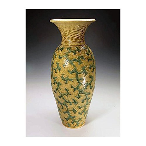 Green and yellow ash glazed puzzle vessel