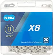 KMC X8.99 Bicycle Chain, 8-Speed, 1/2 x 3/32-Inch, 116L, Silver