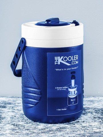 The KOOLER 2.0 Portable Cooler 2 Shaker Cups Protein Blender Sport Bottle BLUE