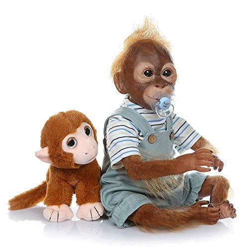 - 22 inch Reborn Baby Monkey Dolls Reborn Monkey Doll Silicone Vinyl Monkey Baby with Blue Outfit