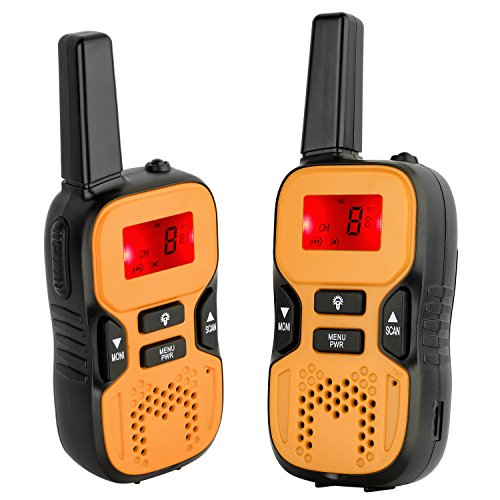 Camkiy Rechargeable Walkie Talkies for Kids 2 Way Radio 22 Channel FRS/GMRS 2 miles (up to 3.7 Miles) UHF Handheld Walkie Talkies for Children - Place Mall Hours Park