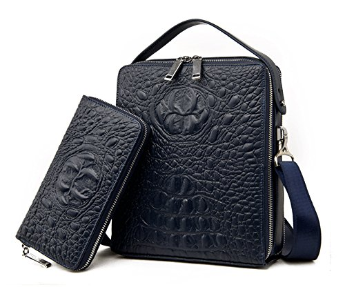 Los hombres Xinmaoyuan bolsos de cuero Bolsos hombres casual de negocios patrón Cocodrilo bolso de hombro de cuero de vaca,azul Blue