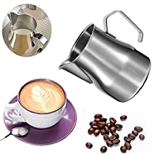 17oz/500ml Milk Pitcher, Stainless Steel Creamer Frothing Pitcher