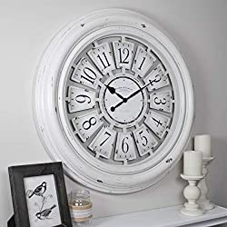 FirsTime & Co. 31066 Farmhouse Plaques Wall Clock, 29, Antique White