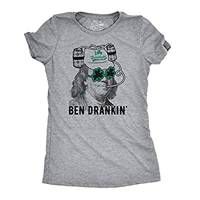 Womens Ben Drankin T Shirt Funny Saint Patricks Day Clover Beer Franklin Irish