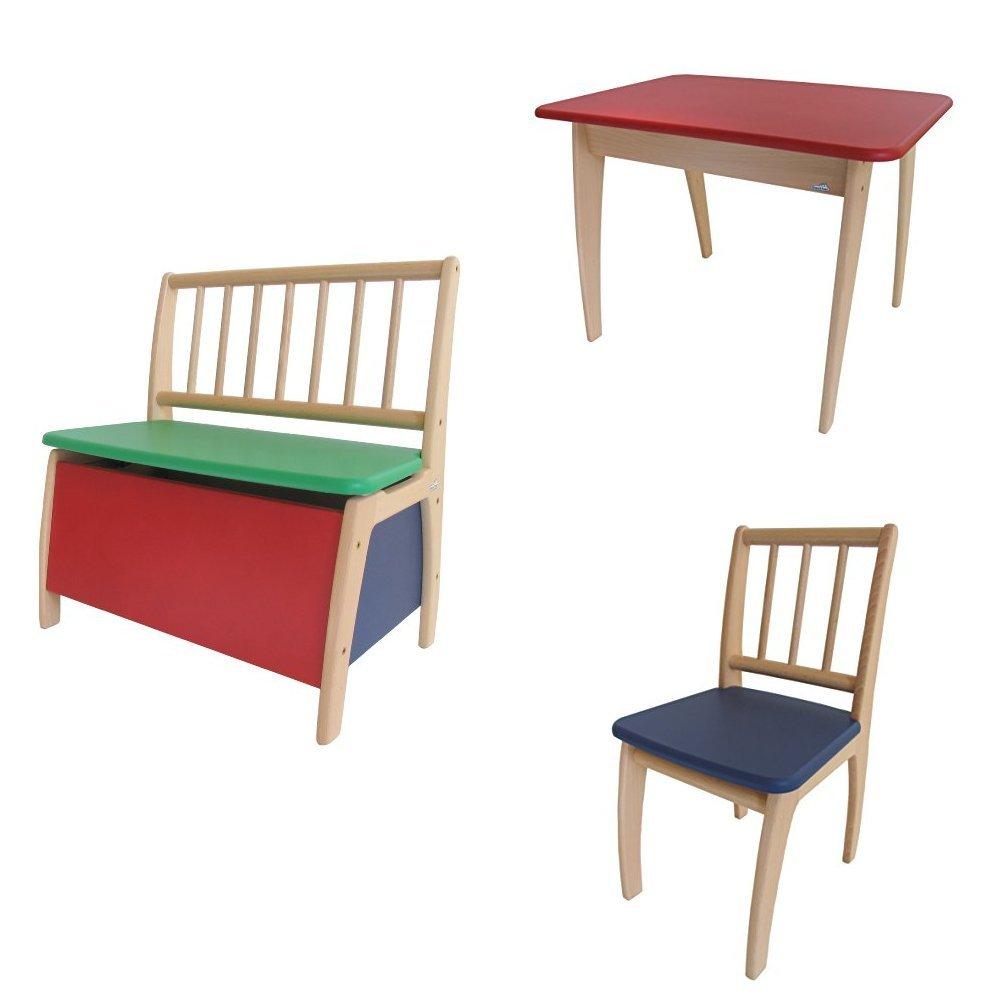 Geuther - Truhenbank passend zu Sitzgruppe Bambino, bunt + Tisch passend zu Sitzgruppe Bambino, bunt + Stuhl passend zu Sitzgruppe Bambino, natur-blau