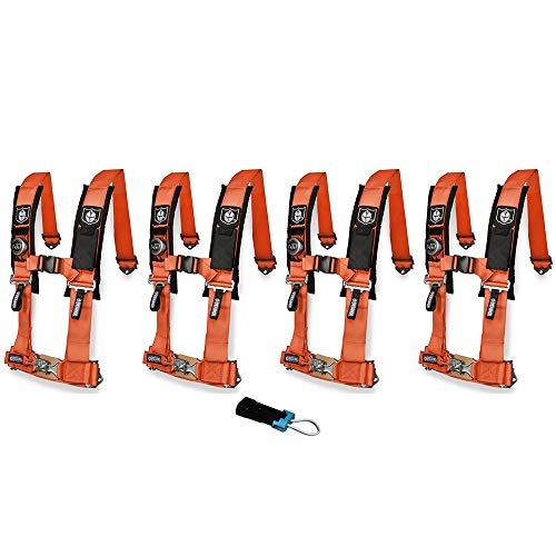 - Pro Armor A114220OR P151100 Orange 4-Point Harness 2 Inch Straps, 4 Pack RZR UTV Seat Lap Belt with Bypass Clip