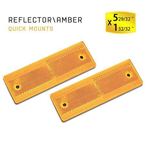 "BSK 6"" Rectangular Yellow Stick-on/Screw Mount Reflectors - Pack of 2"