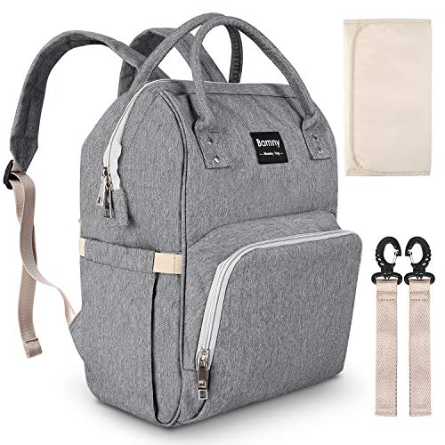 (BAMNY Mommy Diaper Bag Wide Open Designed, Multi-Function Waterproof Backpack Travel Bag, Maternity Nappy Tote Bag with Stroller Straps Change Pad for Mom Dad(Grey))
