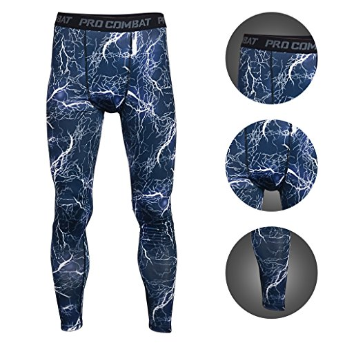 BeneU® Mens Camouflage Sports Running Basketball Compression Tight Leggings Pants(Style:Flash Blue (Mens Camouflage)
