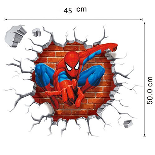 Jiahui Brand DIY Removable Spiderman 3D Cracked Children Themed Art Boy Room Wall Sticker Home Decal, Peel and Stick Wall Decal for Kids Room Wall Decor by Jiahui Brand (Image #1)