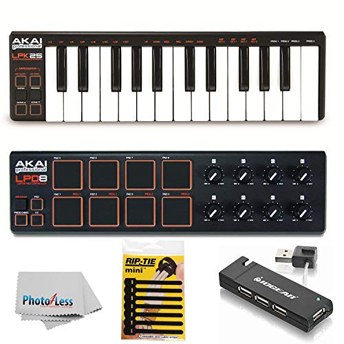 Akai Professional LPK25 | 25-Key Ultra-Portable USB MIDI Keyboard & USB-MIDI Pad Controller Bundle + 4 Port USB Hub + Pack of Cable Ties + Clean Cloth