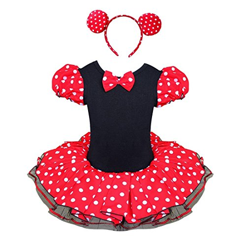 TiaoBug Girls Halloween Polka Dots Party Costume Dress Tutu Skirt with Headband (8-10, Polka Dots (Dressing Up Costumes For Kids)