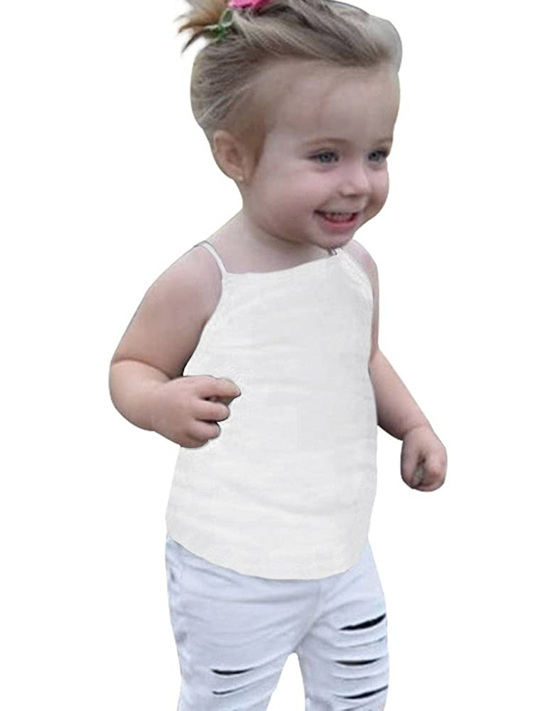 Ivay Baby Girls Toddler Kids Camisole Tank Top Solid Soft Cotton Undershirts DI0687