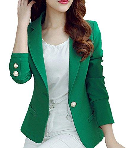 HaoMing Fashion Casual Work Blazer Office Jacket Lightweight for Women and Juniors #5 Green XXL