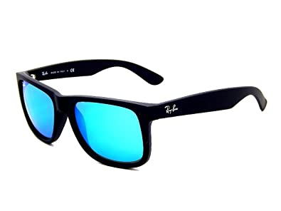 babcab1edb7 Ray Ban Justin RB4165 622 55 Rubber Black Blue Mirror 55mm Sunglasses
