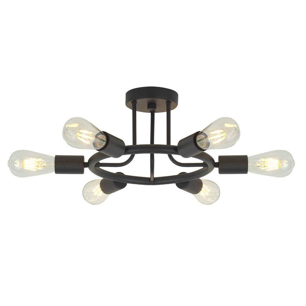 6 Lights Sputnik Chandelier Light Fixtures Modern Chandelier Lighting Black Semi Flush Mount Ceiling Light Rustic Starburst Style Ceiling Lamp for Kitchen Dining Room Foyer Hallway by BONLICHT