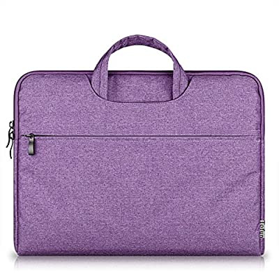 14-15.4 Inch Waterproof Shockproof Oxford Fabric Laptop Sleeve Cover Bag Briefcase Carrying Case with Handle for MacBook Pro Touch Bar 2017 (A1707),MacBook Pro 15 Retina,HP Stream 14, Purple