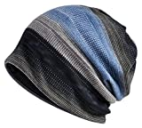 Jemis Womens Cotton Chemo Hat Beanie Scarf - Beanie Cap Bandana For Cancer (Black Gray Blue)